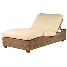 Woodard Saddleback Montecito Double Reclining Chaise Lounge with Cushion Finish: Mocha, Fabric Color: Raffia Birch
