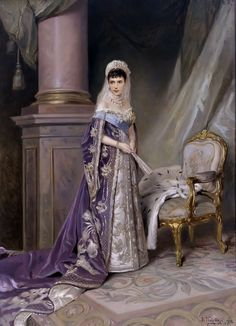 Dowager Empress Maria Feodorovna by Konstantin Makovsky. 1912.  Beautiful purples and fabulous gown.
