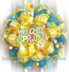 Welcome Spring Poly Deco Mesh Wreaths | Southern Charm Wreaths