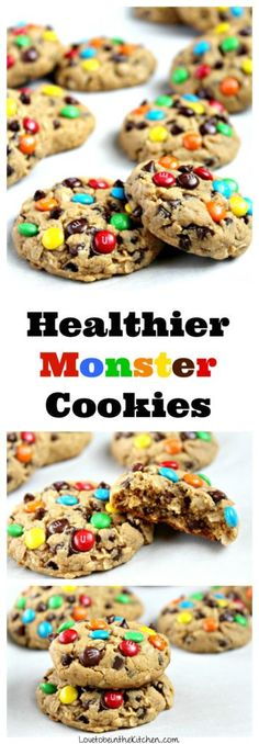 A soft and delicious healthy Monster Cookie made with peanut butter, oats, mini chocolate chips and topped with colorful mini MM's. There's no butter, oil or flour in these cookies! Healthy Cookies, Healthy Baking, Healthy Desserts, Delicious Desserts, Yummy Food, Healthy Sweet Treats, Delicious Cookies, Eat Healthy, Chocolate Chip Cookies