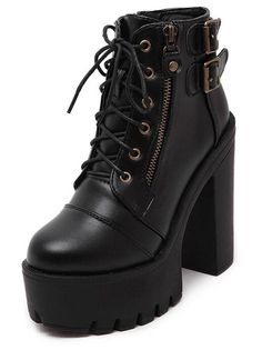 Gdgydh Hot Sale Russian Shoes Black Platform Boots Women Zipper Spring High Heels Shoes Lace Up Ankle Boots Leather Size Black Platform Boots, Platform High Heels, Black High Heels, Black Boots With Heels, Chunky Black Shoes, Black Booties, Goth Boots, Punk Shoes, Women's Shoes