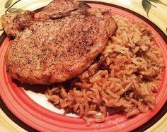Pork Chop Casserole. Pork chops and rice = perfect dinner.