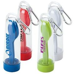 Great for Trade Show Giveaways Portable Cutlery Set With Carabiner