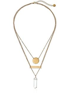 "Jules Smith Geo Crystal Triple-Layer Pendant Necklace 19"" + 2"" Extender ❤ Jules Smith"
