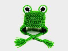 Bright Green Frog Hat Knit Crochet Baby Newborn by CrosStitching, $21.00