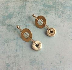 Sterling Silver Earrings ref.10212-27 howlita white , natural stones - donut shape by carlaamaro on Etsy