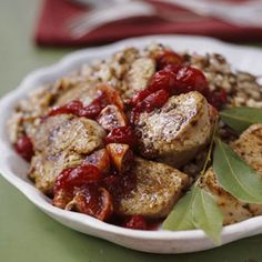 Pork Medallions with Cranberry Chutney The sweet and savory fruit chutney makes a healthy side dish for the pork in this dinner recipe.