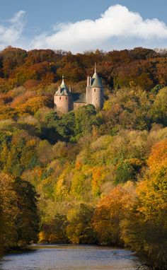 The Red Castle (Castell Coch) situated on a hillside above the village of Tongwynlais, to the north of Cardiff, Wales.