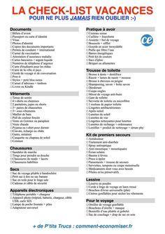 Le check-list de toutes les choses dont vous avez besoin au moment de faire votre valise.