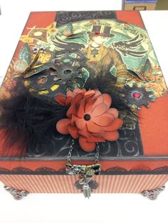 Altered box using Graphic 45 Steampunk paper line.