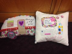 Accent pillows for college life. Liven up the dorm room with these trendy pillows or send them to a new graduate.