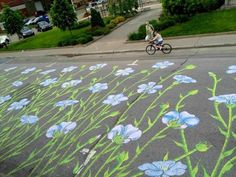 montreal street artist roadsworth tries not only to beautify the urban landscape, often by incorporating existing street markings, but to also make a statement about the illusory urban disconnect from the natural environment. his (literal) street art is both a reclamation of a public space that as cyclists and pedestrians we are taught is dangerous, and a response to the primacy afforded to a car culture that largely dictates the planning of this public space. for his efforts, roadsworth was…