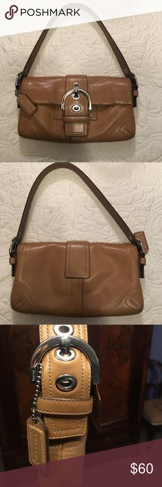 Coach camel colored leather handbag EUC Authentic Coach camel colored leather handbag with nickel accents. Clean inside with minor spots and one light pen mark by snap - (very difficult  to see - shown on last two pictures) Cute bag with a classic look that can be carried anywhere. Coach Bags Shoulder Bags