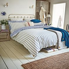 Nautical Themed Bedding   Joules Sea Ditsy Blue Striped Bed Linen at Bedeck Home