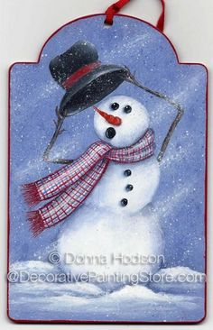 The Decorative Painting Store: Windy Snowman Pattern - Donna Hodson, Newly Added Painting Patterns / e-Patterns - Snowman Tag