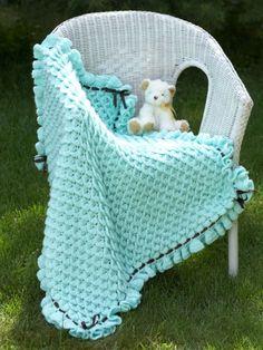 Crocodile Stitch Baby Blanket designed by Lianka Azulay-free pattern from Bernat.
