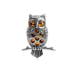 Honey Amber and Sterling Silver Owl Pin - CB113SCXUSD - Brooches & Pins  #jewellrix #Brooches #Pins #jewelry #fashionstyle