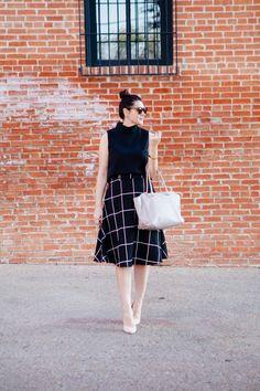 Kendie Everyday - Black and white mid skirt