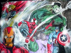 Avengers. Tamaño A3 (42x36cm) Lapicera bic y pintura acrílica