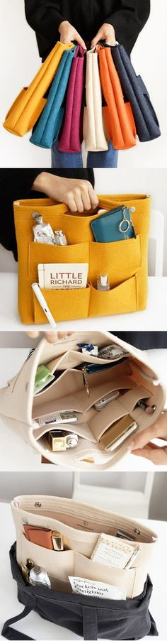 Pocket in pocket felt casual travel multi-pocket storage bag liner pak . - Bag in pocket felt casual travel multi-pocket storage bag liner package cosmetic bag - Sewing Hacks, Sewing Projects, Bag In Bag, Tote Bag, Diy Bags Purses, Diy Couture, Bag Packaging, Craft Storage, Storage Ideas