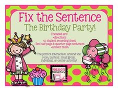 "Included are: 10 task cards/10 1/2 page posters (using the same sentences), a student recording sheet, directions, & an answer key.I use this as an upper elementary ""Write Around the Room"" activity. The cards follow a cute made up story of a who falls and breaks her leg on her birthday!"