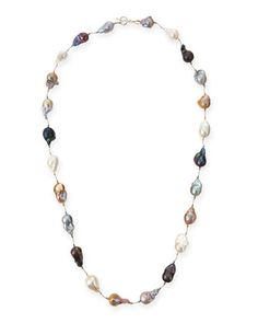 "Multicolor Baroque Pearl Long Necklace, 35""L by Margo Morrison at Neiman Marcus."