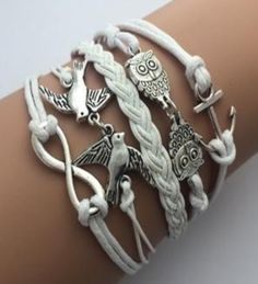 White Leather Braided  rope multi-layer Fashion bracelet. Starting at $1