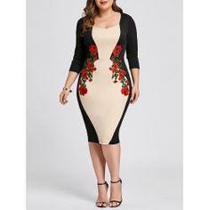 d95fa33bd2 Plus Size Color Block Embroidered Bodycon Dress - Apricot 4xl