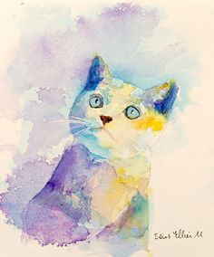 """Original """"Kitten"""" painted by Martine Jacquel Saint Ellier   Original painting : Watercolor  7,48"""" x 9,05 """" Support paper 140lb painted with extra fine watercolors.   You are purchasing direct from the artist. The painting comes signed and dated. This is a unique original painting which is sold UNFRAMED. All paintings are gift wrapped in a cellophane insert. Shipped in a strong cardboard envelope, by the french post, with insurance, tracking, and delivery against signature."""