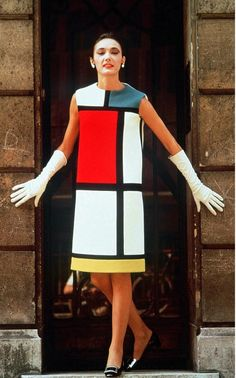 """Yves Saint Laurent's famous Mondrian dress, which Pierre Berge """"couldn't bare"""" to see leave Paris."""