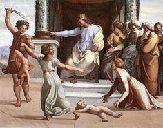 O Julgamento de Salomão (2), afrescos por Raphael (Raffaello Sanzio Da Urbino) (1483-1520, Italy)