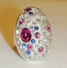 Swarovski Watermelon Pink Oval Swirl Crystal Clay by JLSjewelry, $38.00