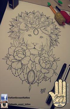Beautiful hand thigh lion peonys tattoo ideas by dzeraldas jerry kudrevicius from Atlantic Coast tattoo. Mandala lotus rose lace dotwork ornamental drawing tattoo idea design. Pretty tattoo idea. Lion tattoo