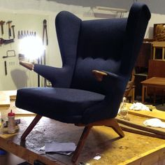 Finishing touches on our 'bear' chair by Sven Skipper newly upholstered in Gabriel wool.