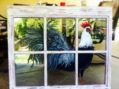 Painting On Old Windows - Rooster Painting On Old Window Window Painting Old Window Art Things To Do With Old Windows Page 4 Of 5 Painting On Glass Old Window Frame Art Painted. Old Windows Painted, Painted Window Panes, Old Window Panes, Painting On Glass Windows, Vintage Windows, Painted Screens, Antique Windows, Wooden Windows, Old Window Art