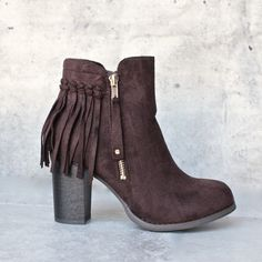 city chic fringe vegan suede ankle boot - brown - shophearts - 1
