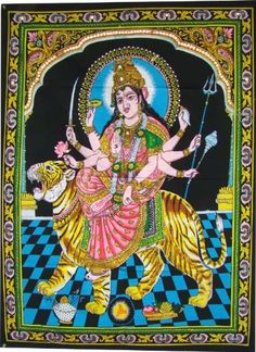 Huge Cotton Fabric Durga Ma Mother Goddess Yoga 43 X 30 Tapestry *** Be sure to check out this awesome product.