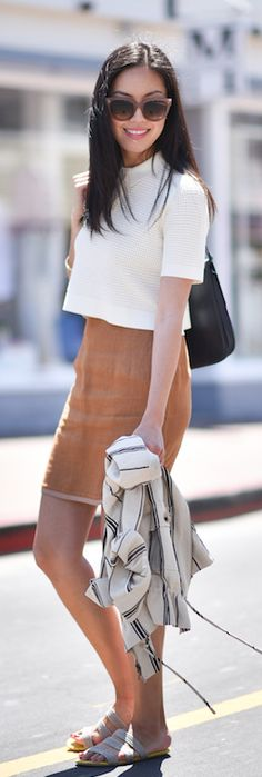 Suede Skirt Outfit: Anh is wearing a Missoni suede midi skirt