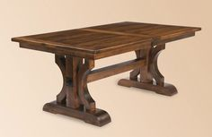 Trestle table / dark stain / contrast trim