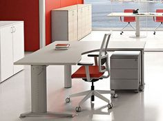 L-shaped melamine-faced chipboard workstation desk COMPACT C1616DXZ Compact Collection by Arcadia Componibili - Gruppo Penta