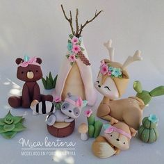 Cute Polymer Clay, Polymer Clay Animals, Cute Clay, Polymer Clay Projects, Diy Clay, Woodland Theme Cake, Woodland Party, Diy Cardboard Furniture, Fondant Animals