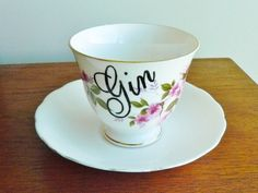 Gin hand painted vintage bone china teacup and by trixiedelicious