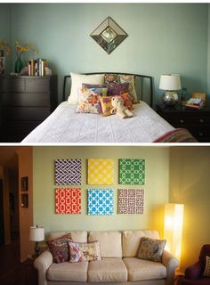 Done these before, they look super cute and cost next to nothing to make!   bedroom & DIY paintings - with fabric scraps