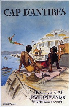 Hotel du Cap Antibes Beach Swim France French Vintage Poster Repro FREE S/H   eBay