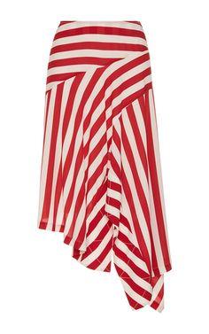 Asymmetrical Nautical Striped Skirt by ANTONIO MARRAS for Preorder on Moda Operandi
