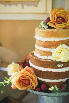 """Naked"" wedding cake!  Photos:  Sarah McKenzie Photography  Cake:  Sugary and Chic Cake Boutique"