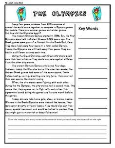 THE OLYMPICS: READ AND RETELL- FREE - TeachersPayTeachers.com
