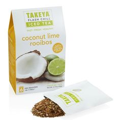 Takeya Whole Leaf Coconut Lime Rooiboos Tea  $7.99 PERFECTLY PAIRED FLAVORS (caffeine free) Earthy Green Rooibos blends with rich coconut, papaya, pineapple and zesty lime peel to send your taste buds to the tropics. Harvested in South Africa, Green Rooibos leaves are unoxidized, caffeine-free and brew to reveal a smooth and grassy flavor.