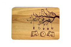 Mother's day gift Personalized Cutting Board Laser Engraved I love you MOM Gift for mom Birthday present Anniversary Gift Gift for mother