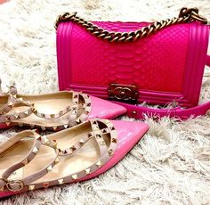 My perfect combo-a pink Chanel purse and the pink studded Valentino flats!  Fashion doesn't get much better than this!
